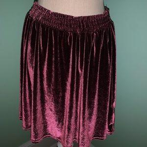 Purple velvet urban outfitters mid-length skirt